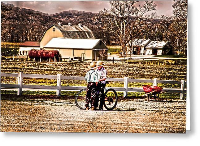 Farm Boys Country Exchange Greeting Card by Randall Branham