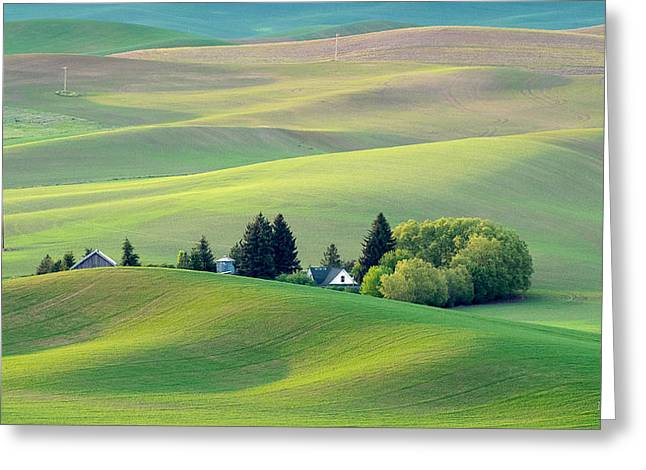 Farm Buildings Nestled In The Palouse Country Greeting Card