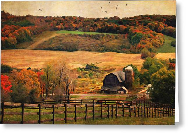 Farm Country Autumn - Sheldon Ny Greeting Card by Lianne Schneider
