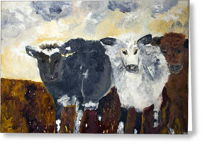 Greeting Card featuring the painting Farm Cows by Aleezah Selinger