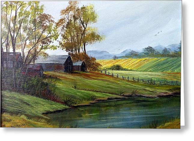 Greeting Card featuring the painting Farm by Dorothy Maier
