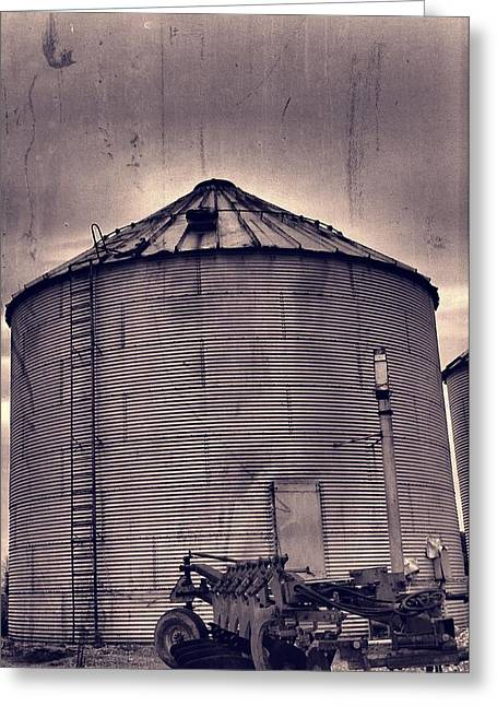 Farm Equipment And Silo Greeting Card by Dan Sproul