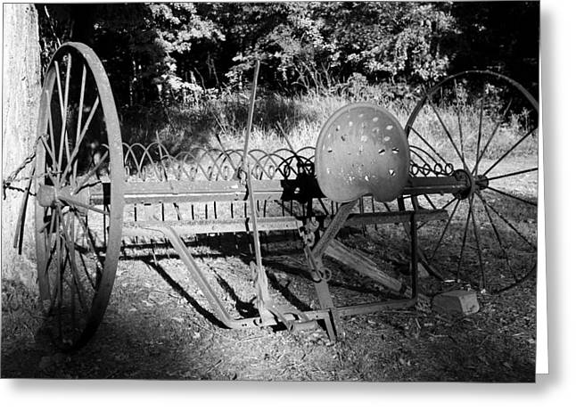 Farm Equipment Bw Greeting Card by Mary Bedy