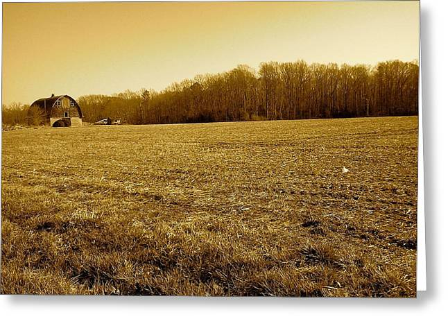 Greeting Card featuring the photograph Farm Field With Old Barn In Sepia by Amazing Photographs AKA Christian Wilson