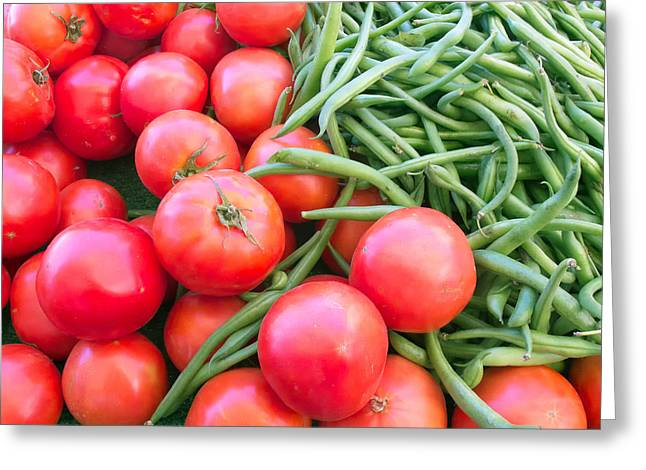 Farm Fresh Tomatoes And Beans Greeting Card