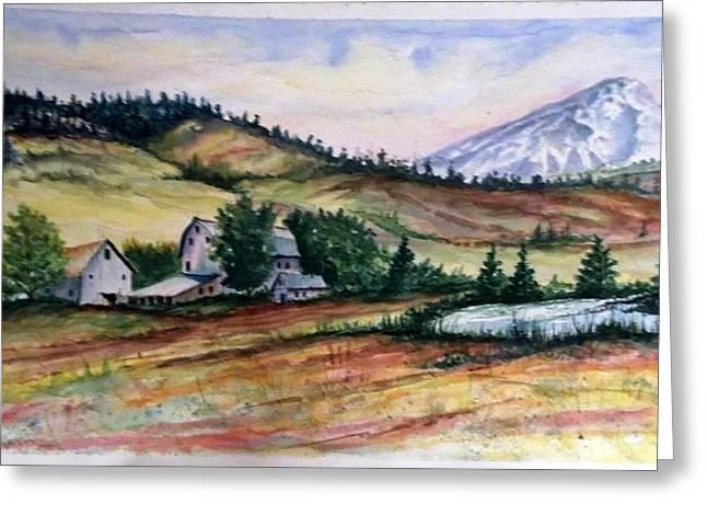 Farm In A Valley Greeting Card by Richard Benson