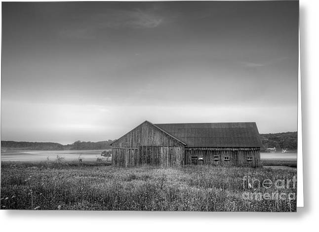 Farm In Black And White Greeting Card