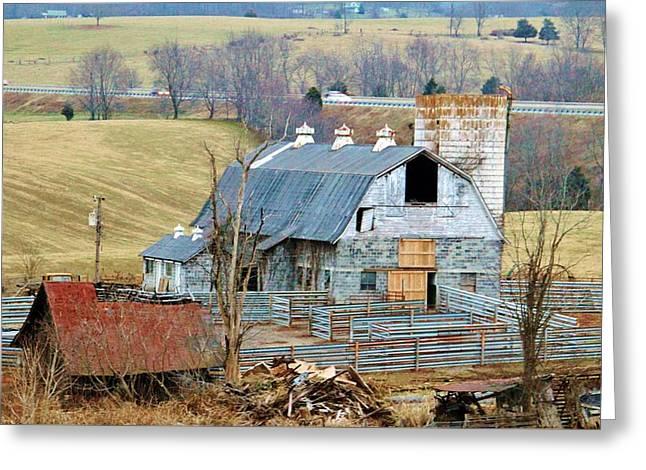 Farm In Virginia Greeting Card by Cynthia Guinn
