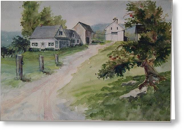 Greeting Card featuring the painting Farm On Orchard Hill by Joy Nichols