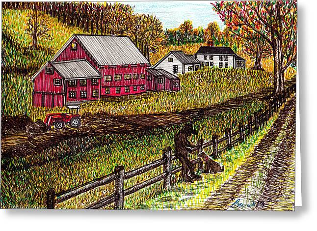 Farm Scene With Boy And Dog Greeting Card