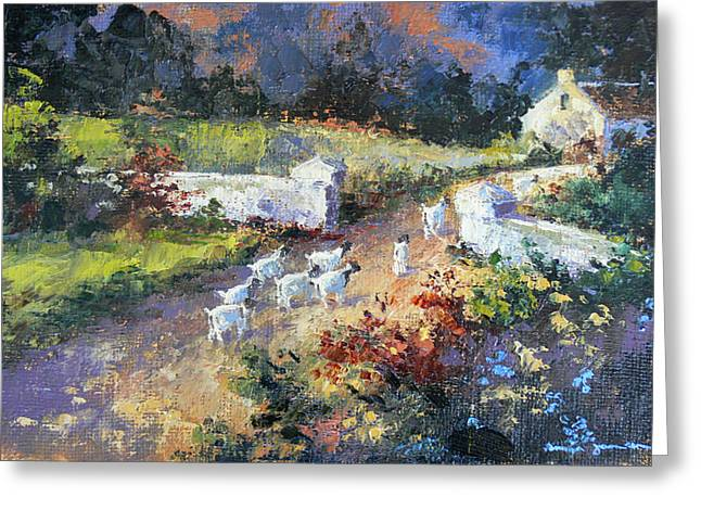 Farm Scene With Goats I Greeting Card