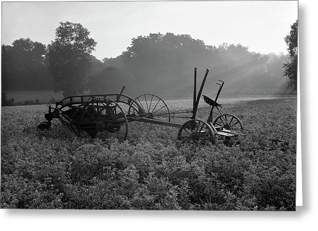 Farm Scene With Old Hay Baler In Middle Greeting Card