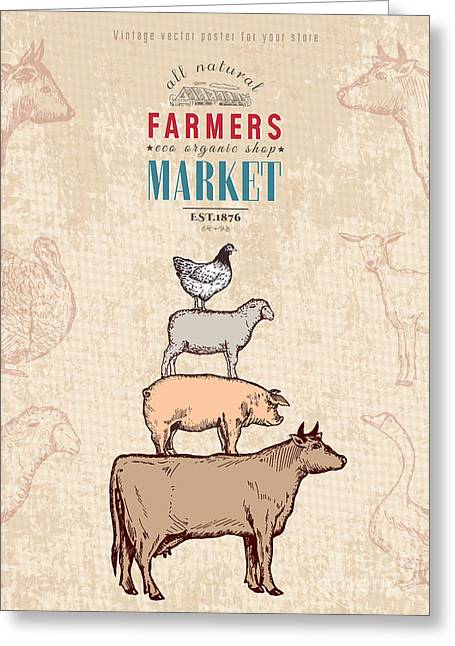 Farm Shop Vintage Poster Retro Butcher Greeting Card by Intueri