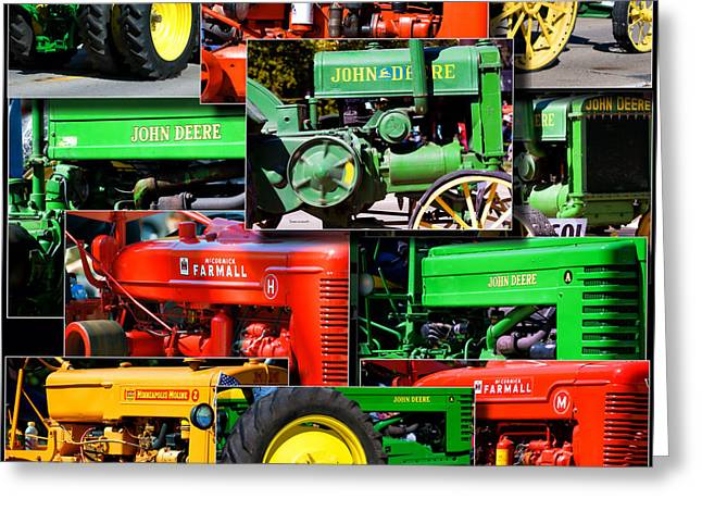 Coller Greeting Cards - Farm Tractor Collage Square Greeting Card by Thomas Woolworth