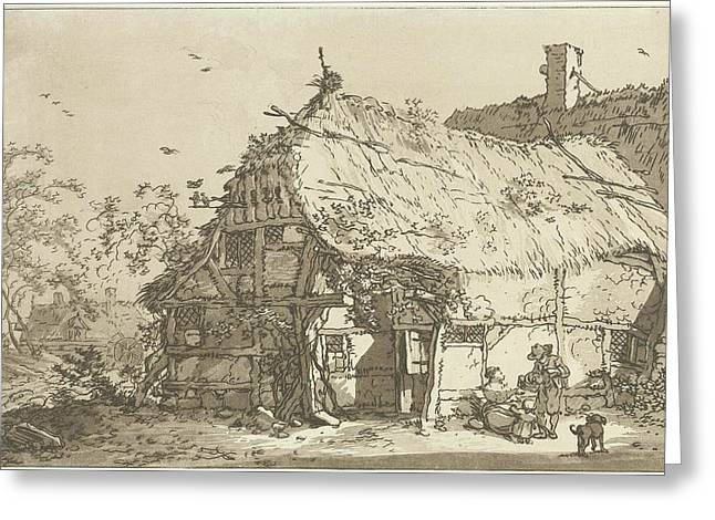 Farm With A Family In The Yard, Print Maker Hendrik Meijer Greeting Card by Hendrik Meijer And Timothy Sheldrake