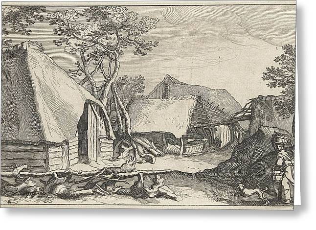 Farm With Land And Derelict Barn Greeting Card by Claes Jansz. Visscher (ii) And Abraham Bloemaert And Bo?tius Adamsz. Bolswert