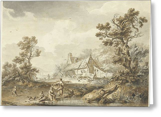 Farm With On The Foreground Washing Women Greeting Card by Quint Lox