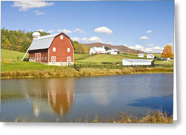 Greeting Card featuring the photograph Farm With Red Barn by Robert Camp