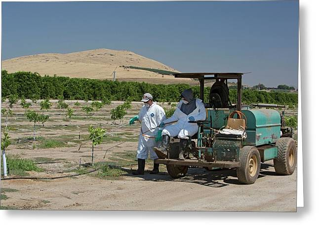 Farm Workers Applying Pesticide Greeting Card by Jim West