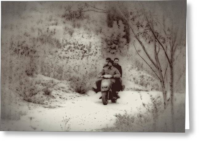 Farm Workers Riding On One Motorbike Greeting Card