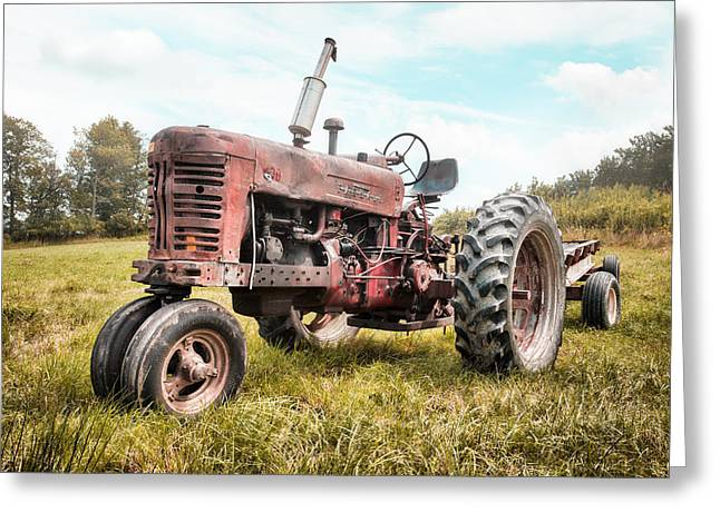 Greeting Card featuring the photograph Farmall Tractor Dream - Farm Machinary - Industrial Decor by Gary Heller