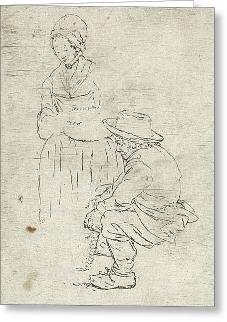 Farmer And Rancher, Possibly Johannes Janson Greeting Card by Johannes Janson