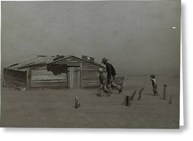 Farmer And Sons Walking In The Face Of A Dust Storm Greeting Card