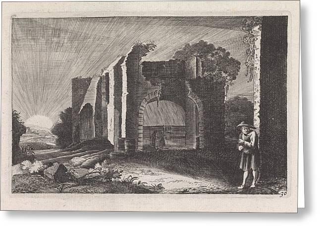 Farmer At A Ruin, Claes Jansz Visscher II Greeting Card