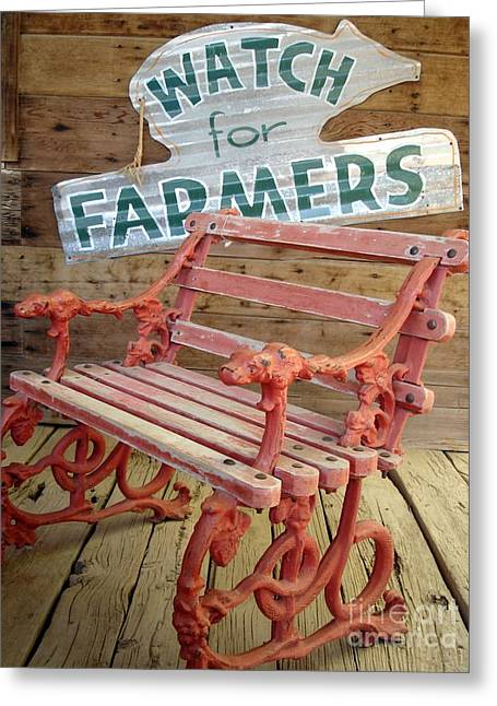 Farmer Bench Greeting Card