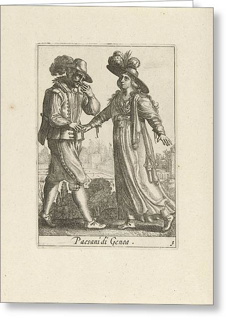 Farmer Couple Dressed According To The Genoese Fashion Greeting Card by Quint Lox