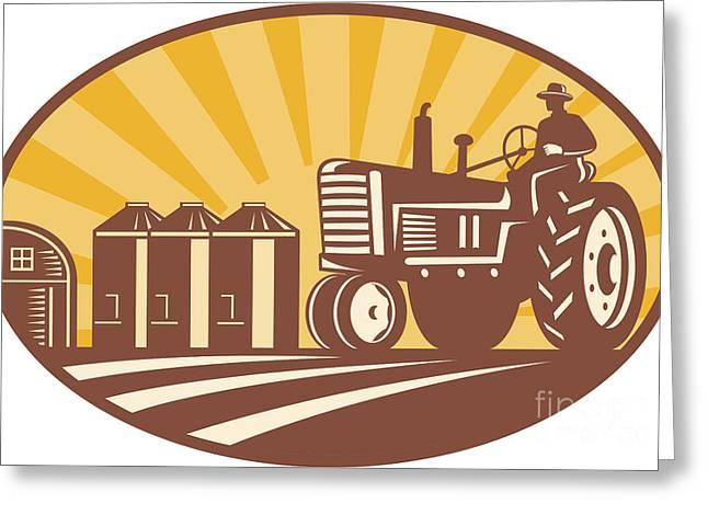 Farmer Driving Vintage Tractor Retro Woodcut Greeting Card by Aloysius Patrimonio