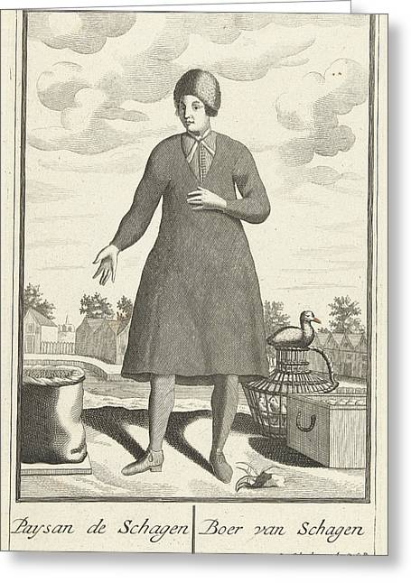 Farmer From Schagen, The Netherlands, Pieter Van Den Berge Greeting Card by Pieter Van Den Berge And Anonymous And Pieter Schenk I