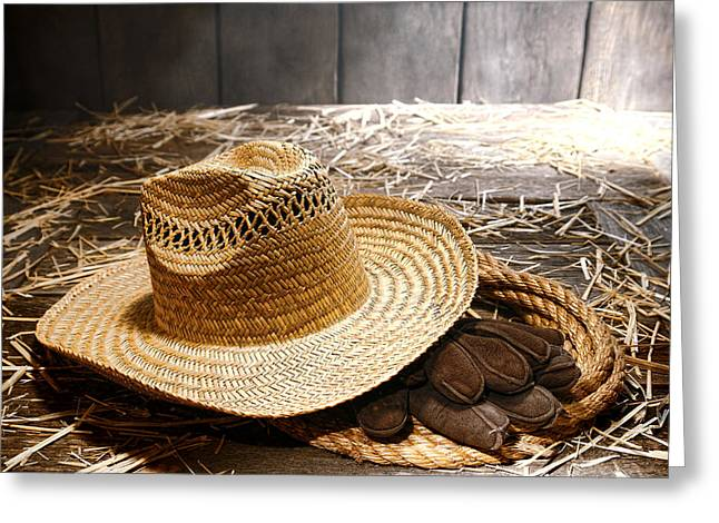 Farmer Hat And Gloves Greeting Card