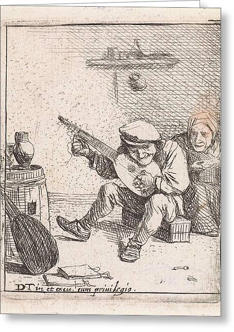 Farmer Plays The Lute, Anonymous, David Teniers II Greeting Card