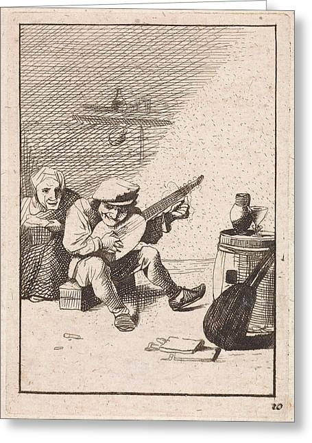 Farmer Plays The Lute, David Teniers II, Anonymous Greeting Card