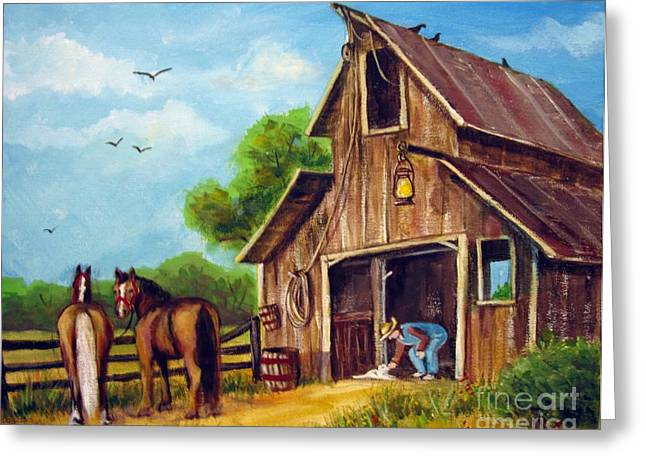 Greeting Card featuring the painting Farmer Scene by Carol Hart