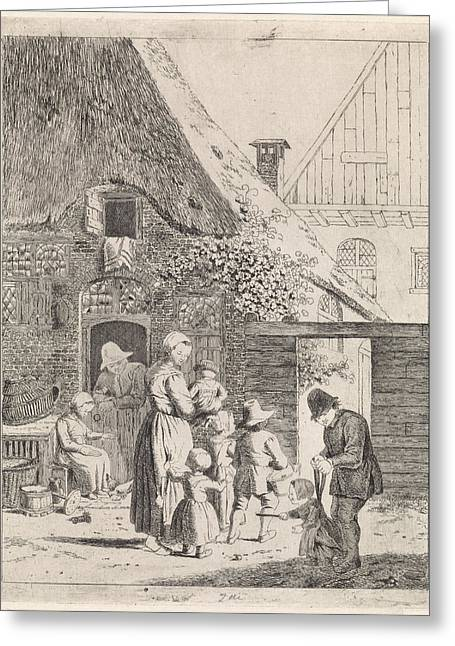 Farmers And Farm Children, Johannes Christiaan Janson Greeting Card by Johannes Christiaan Janson