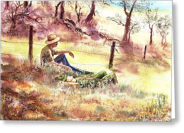 Farmers And Hunters Heaven Greeting Card by Irina Sztukowski