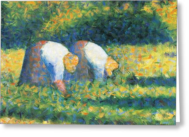 Farmers At Work Greeting Card by Georges Seurat