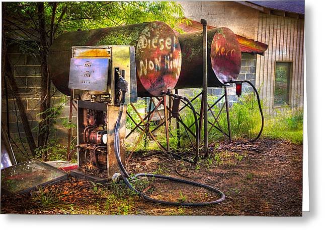 Farmer's Fuel Greeting Card by Debra and Dave Vanderlaan