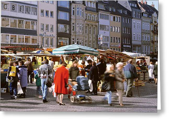 Farmers Market, Bonn, Germany Greeting Card by Panoramic Images