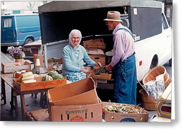 Farmers Market - Getting Ready  Greeting Card by Suzanne Gaff