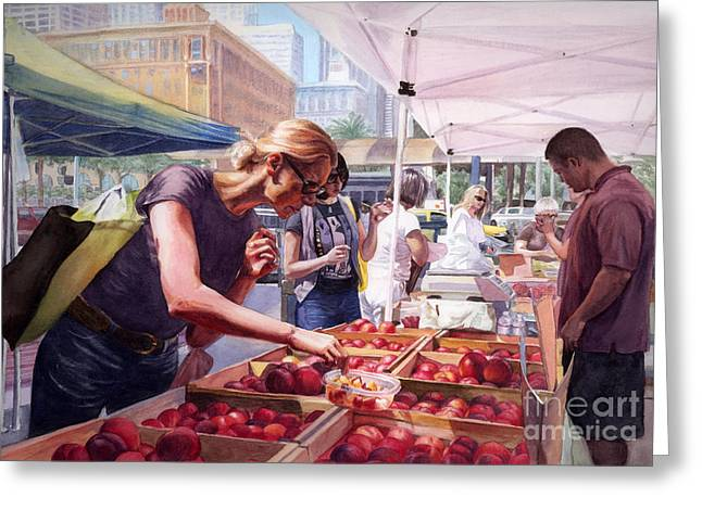 Farmer's Market Greeting Card by Isabella Kung