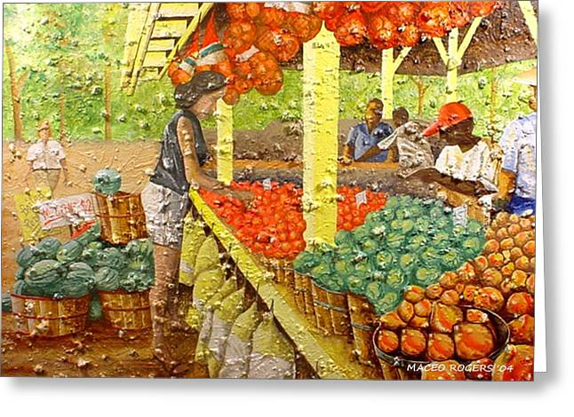 Farmers Market Greeting Card by Maceo Rogers
