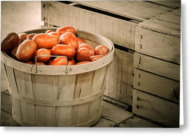 Farmers Market Plum Tomatoes Greeting Card by Julie Palencia