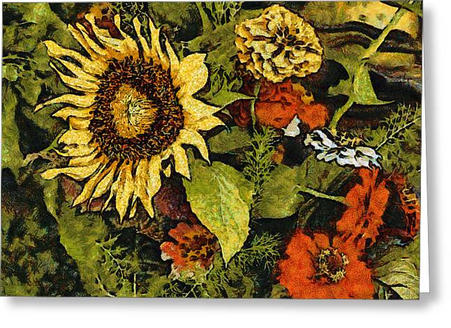 Farmers Market Sunflower Greeting Card