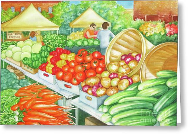 Greeting Card featuring the painting Farmers Market View by Inese Poga