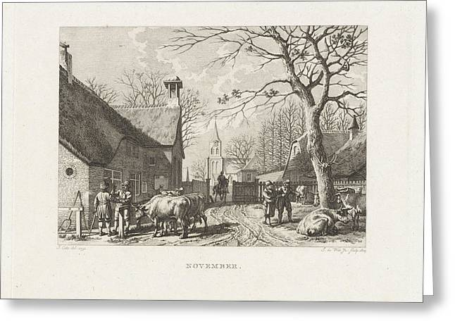 Farmers Negotiate Near Oxen In A Village Greeting Card