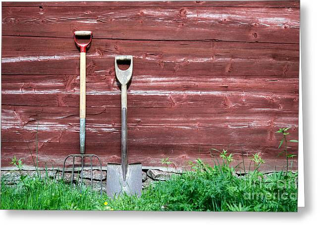 Greeting Card featuring the photograph Farmers Old Tools by Kennerth and Birgitta Kullman