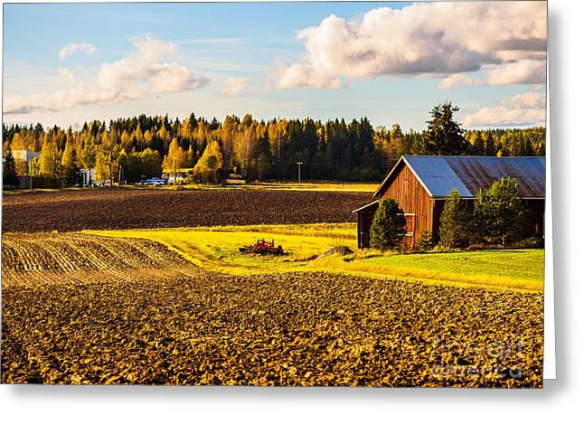 Farmer's Sunny Autumn Day Greeting Card